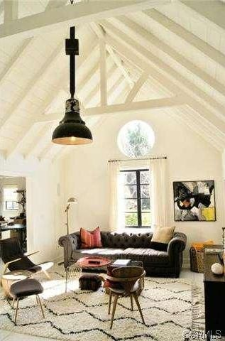 Eclectic Living Room With Souk Wool Rug   Ivory, High Ceiling, Carpet,  Pendant