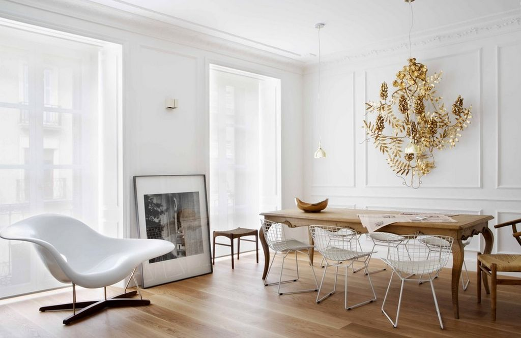 Eclectic Dining Room with Wishbone chair & Crown molding | Zillow ...