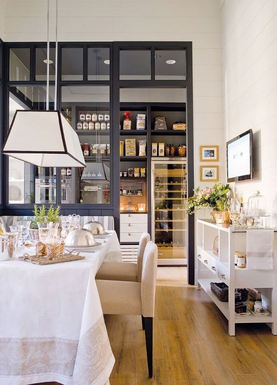 Contemporary Dining Room with High ceiling Pendant Light