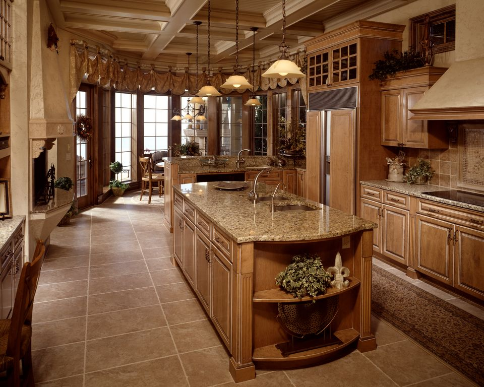 Traditional Kitchen With High Ceiling, Kitchen Island, Flush, Tuscany  Classic 4x4 Tumbled Travertine