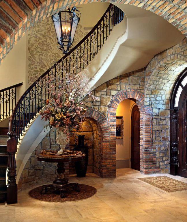 Foyer Interior Questions : Mediterranean entryway with chandelier interior brick