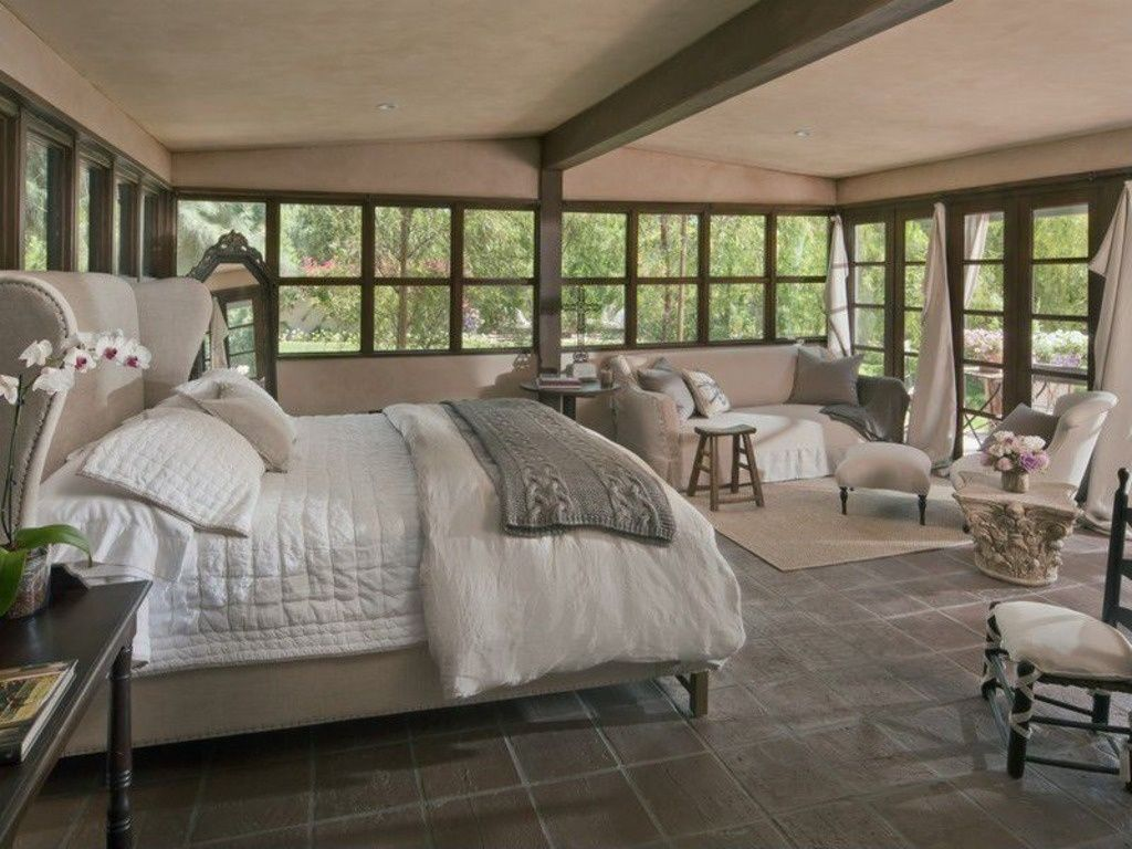 Cottage Master Bedroom With Slate Tile Floors Amp Cathedral