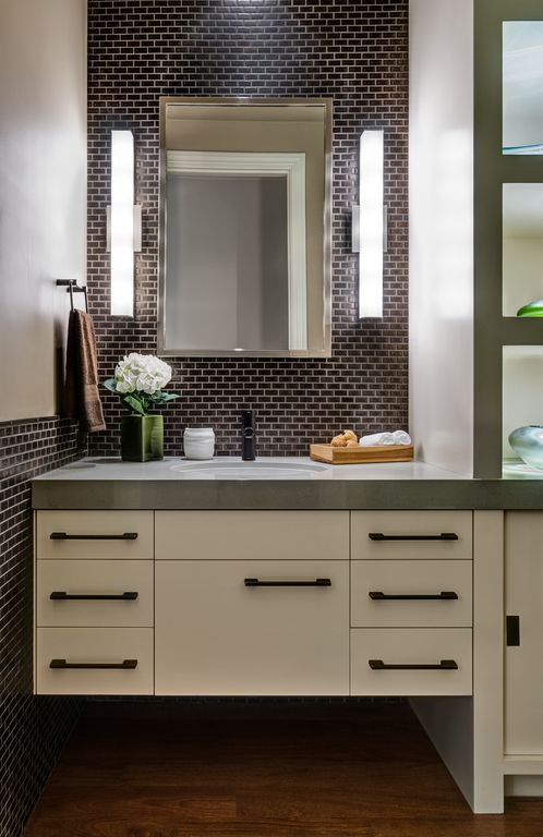 Kovacs Bathroom Sconces contemporary powder room with flushharrell remodeling | zillow