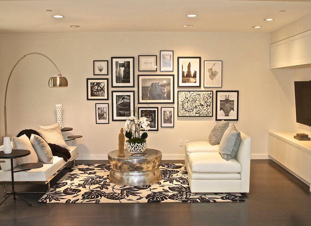 Modern Living Room With Surabaya Global Bazaar Hammered Nickel Round Coffee Table Flos Arco Floor