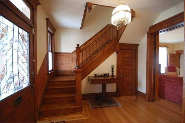 Craftsman Staircase With Hardwood Floors Maple Flooring