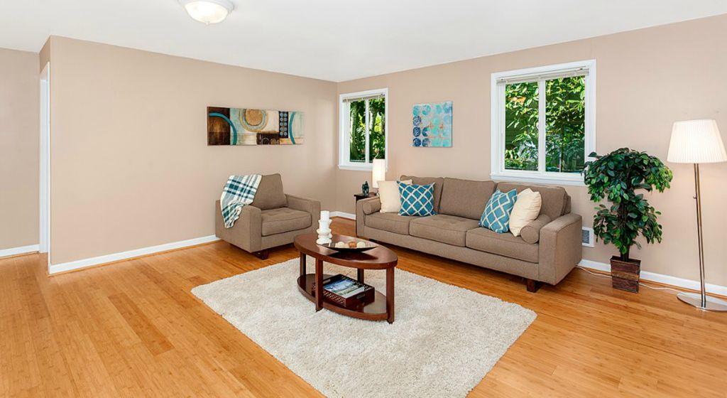 Transitional Living Room With Hardwood Floors Carpet NuLOOM Serano Shag White Area Rug