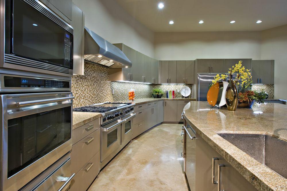 Contemporary Kitchen With L Shaped, Limestone Tile Floors, Flush Light,  Ceramic Tile