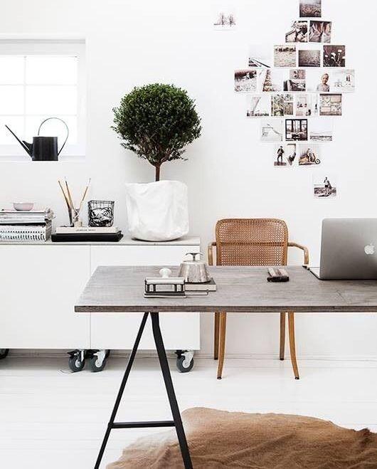 Contemporary Home Office With IKEA Besta Shelf Unit With Door, Lappviken  White, Hardwood Floors
