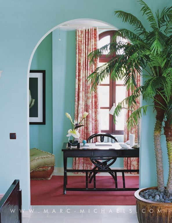 Tropical Home Office With Arched Window By Marc Michaels