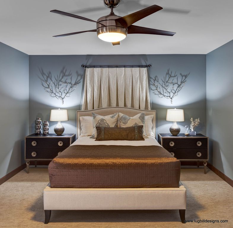 Contemporary Master Bedroom With Henredon Night Stand, Ceiling Fan, Carpet,  Henredon Tyler Bed