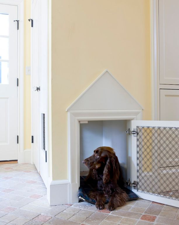 Traditional Entryway With High Ceiling, Limestone Tile Floors, Indoor Dog  House Ideas