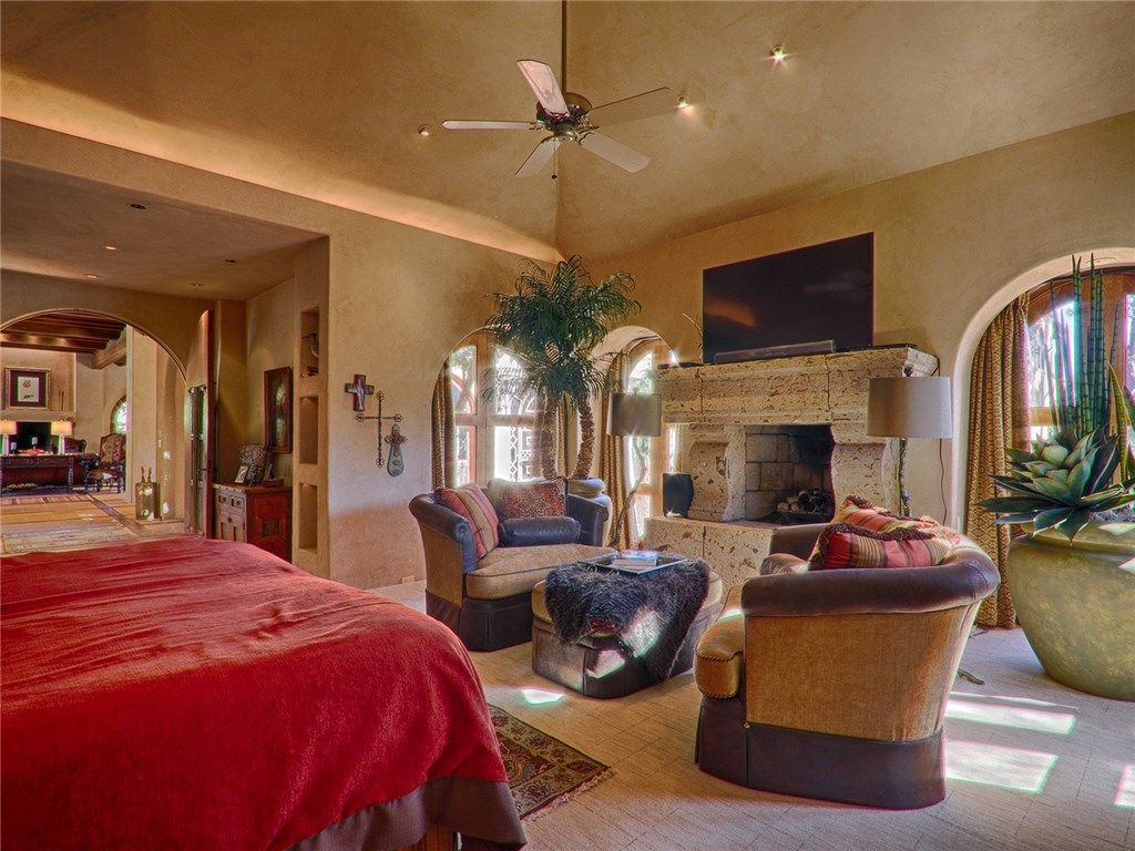 Master Bedroom with Carpet & stone fireplace in Nichols Hills, OK ...