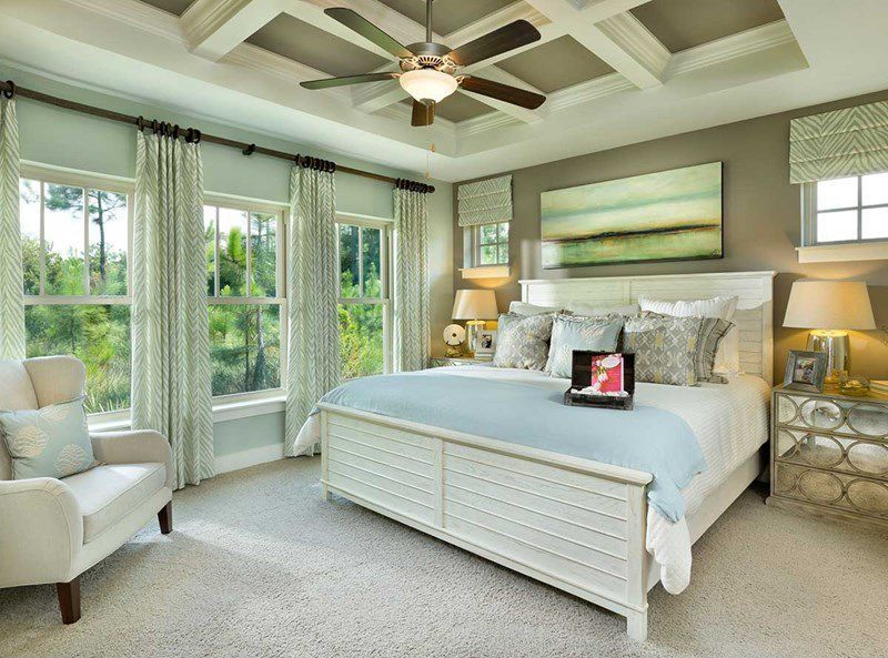 Traditional Master Bedroom With Summer Hill Panel Bed Box Ceiling Distressed Cream Antiqued Mirror