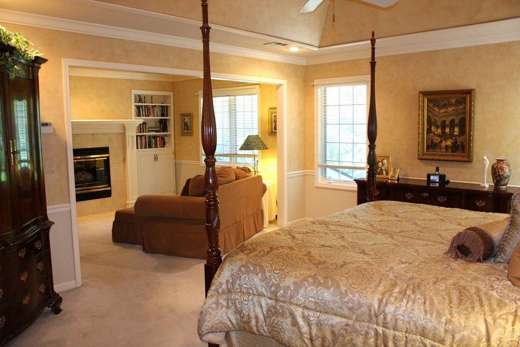 Traditional Master Bedroom With Wainscoting Stone Fireplace In Overland Park Ks Zillow Digs
