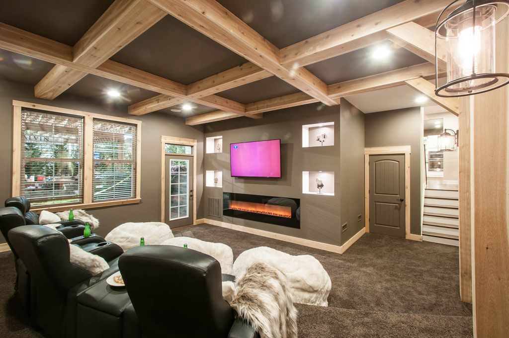 Basement Tv Wall Part - 17: Traditional Basement With TV Wall Mount, Flush Light, Exposed Beam,  Restoration Hardware Luxe