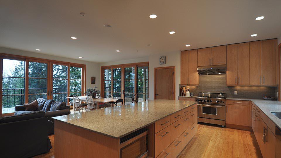 Contemporary Kitchen With European Cabinets, Balcony, LG Viatera Silver Lake  Quartz, L