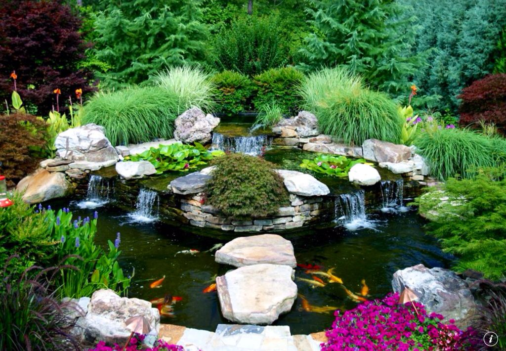 Asian landscape and yard with waterfall feature fountain for Natural fish pond