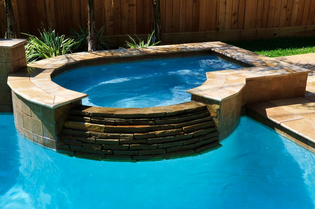 modern hot tub with fence exterior tile floors pool with hot tub
