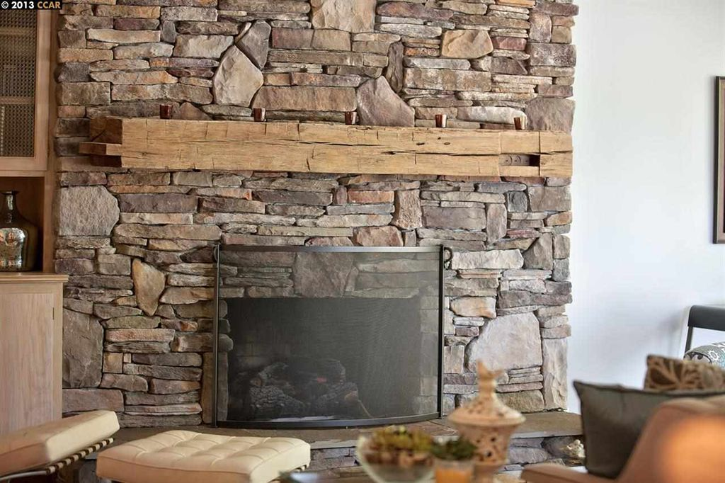 Rustic Living Room with Stacked stone fireplace, How To Install Stone  Veneer: Over Cement