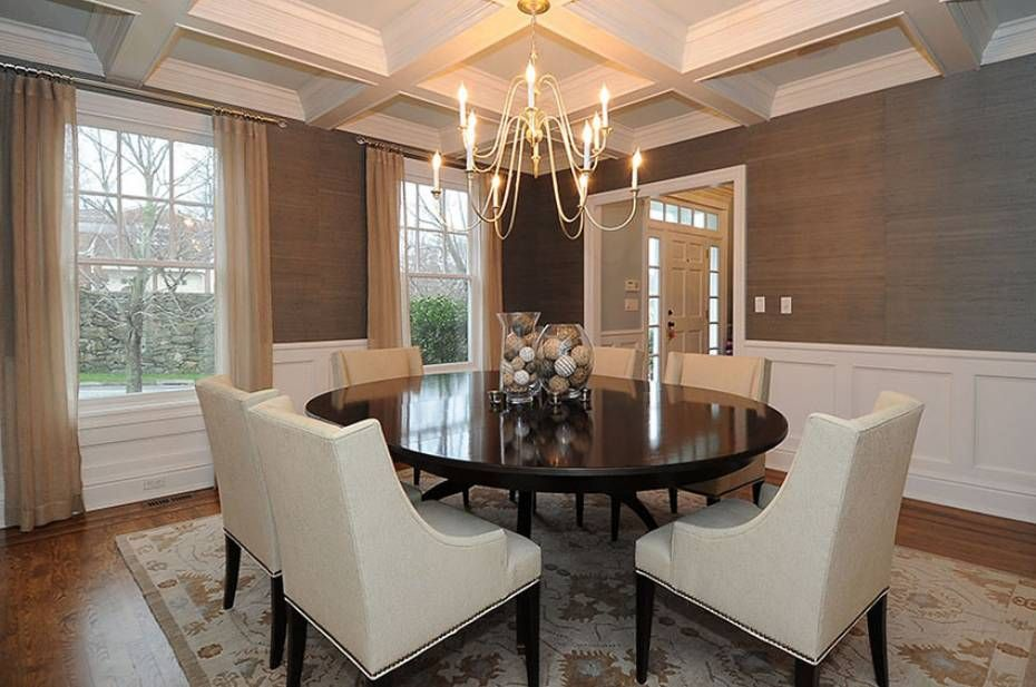 Traditional Dining Room With Carpet Chandelier Wainscoting Box Ceiling Crown Molding