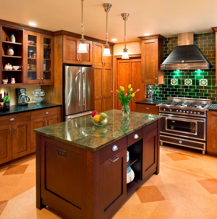 Craftsman Kitchen With Flat Panel Cabinets By Master