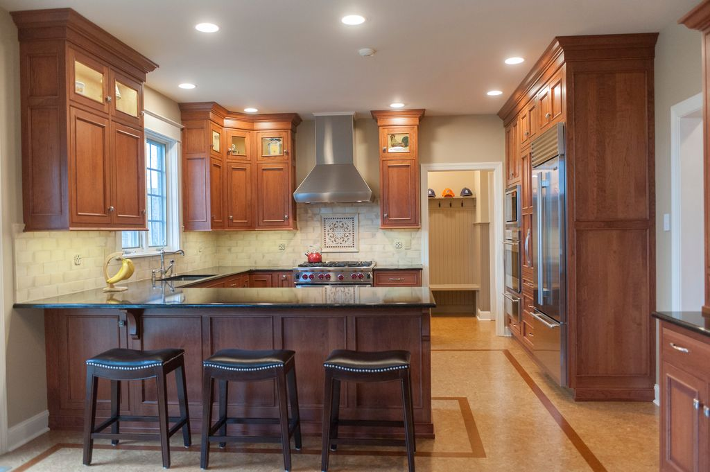 Craftsman Kitchen with Simple Marble Tile by Pine Street ...