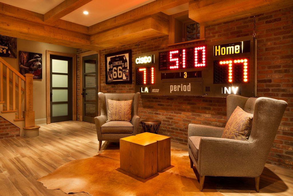 Game Room Design Ideas cool gentlemens bachelor pad game room design idea inspiration 1 Tag Contemporary Game Room With Interior Brick 8 Nevco Electronic Sports Scoreboard Model 2400 Basketball