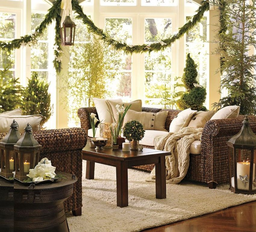 Living Room With Christmas Decor, Pottery Barn Frog Rain Drum Accent Side  Table, Seagrass