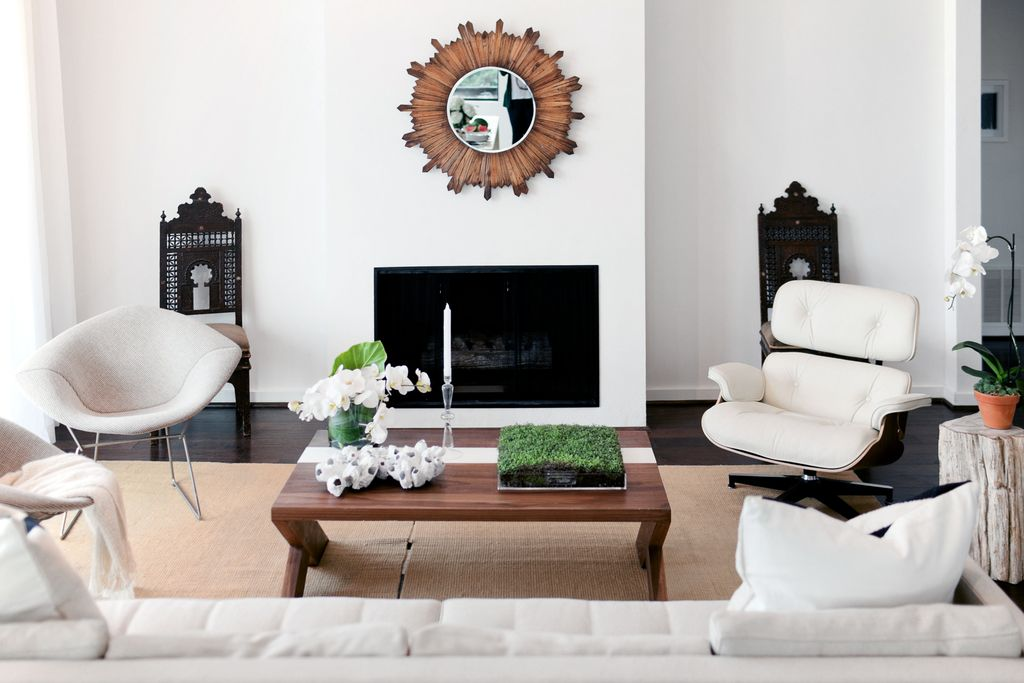 Eclectic Living Room With Natural Area Rug Canyon Round MIrror Eames Lounge