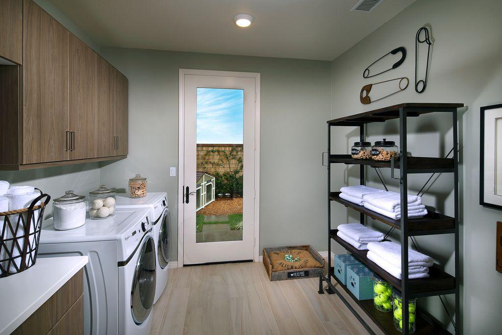 modern laundry room flooring | Contemporary Laundry Room with Hardwood floors & flush ...