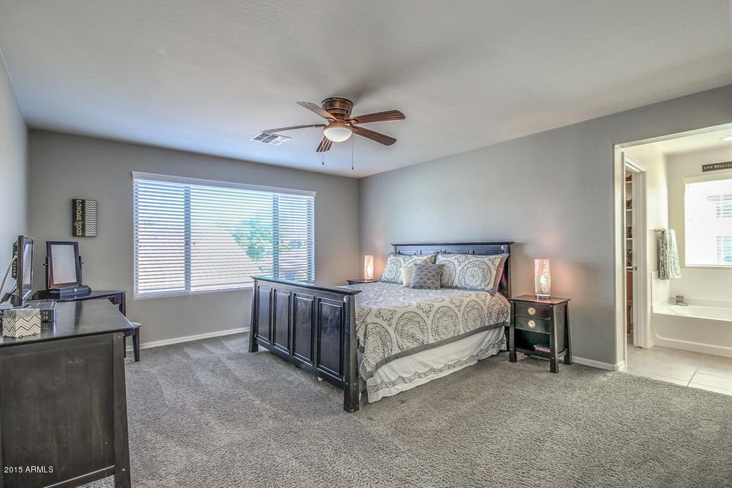 Transitional Master Bedroom With Flush Light, High Ceiling, Ceiling Fan,  Carpet, West