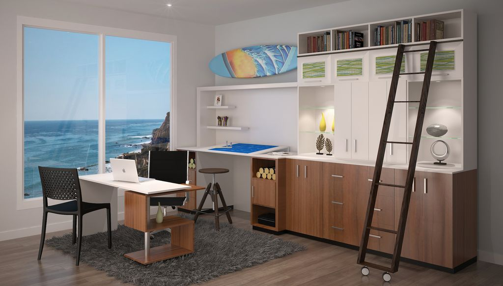 Contemporary Home Office With Cozy Area Rug 5 X 8