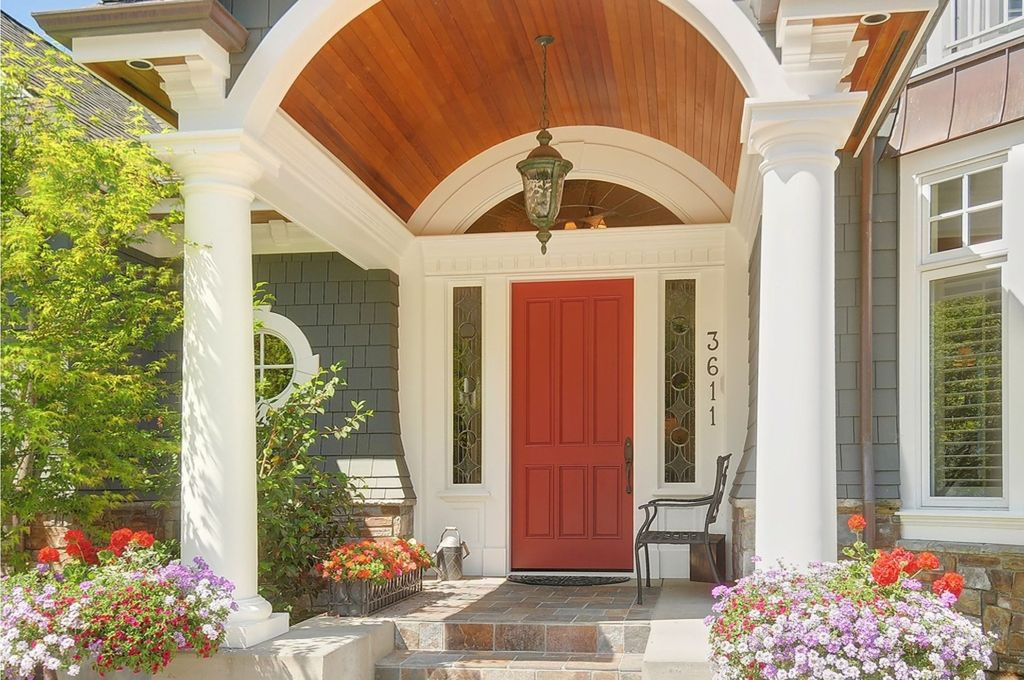Cottage Front Door with Raised beds & exterior stone floors in ...