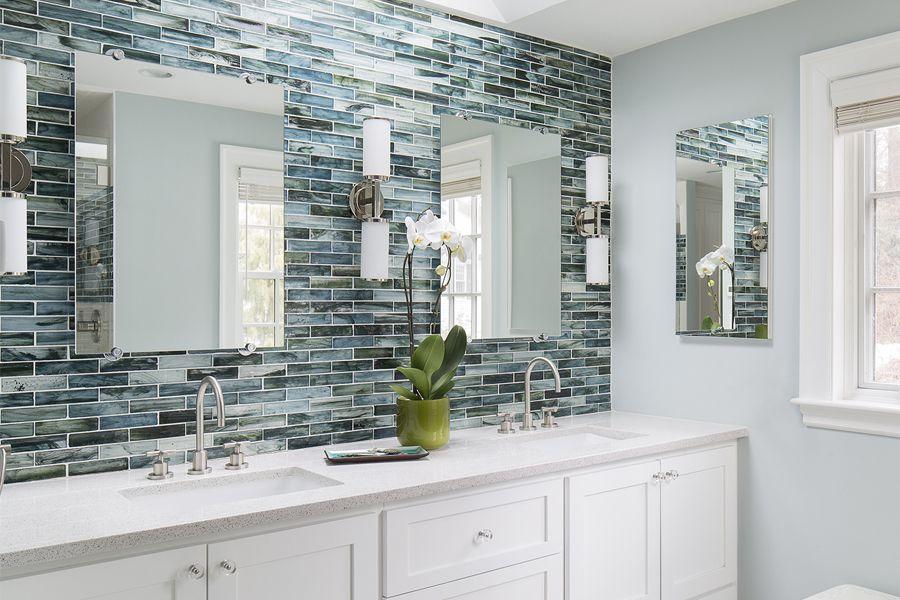 Transitional Master Bathroom With Gatco Chrome Minimalist Hanging Wall  Mirror, Crystal White Quartz, Master