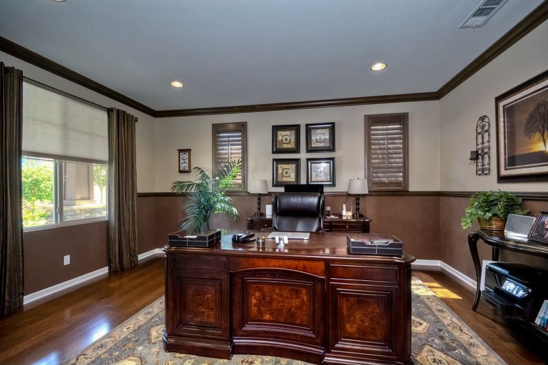 Chair Rail Craftsman Part - 46: Craftsman Home Office With Hardwood Floors, Crown Molding, Chair Rail