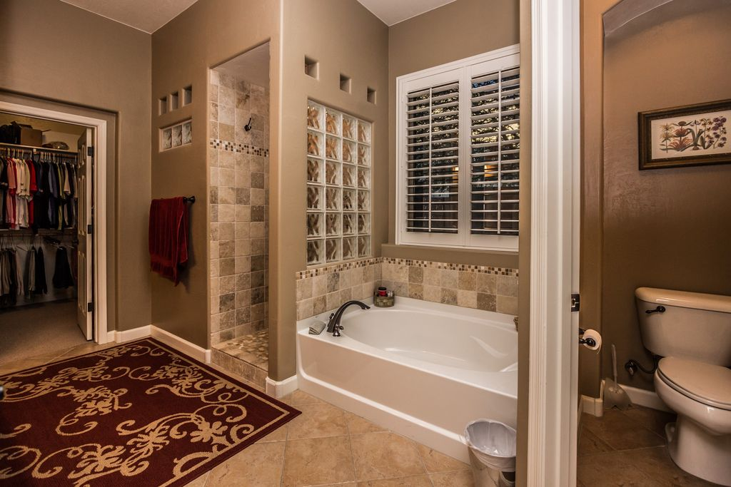 Transitional Master Bathroom With Daltile Catalina Canyon Noce 12 In. X 12  In. Porcelain