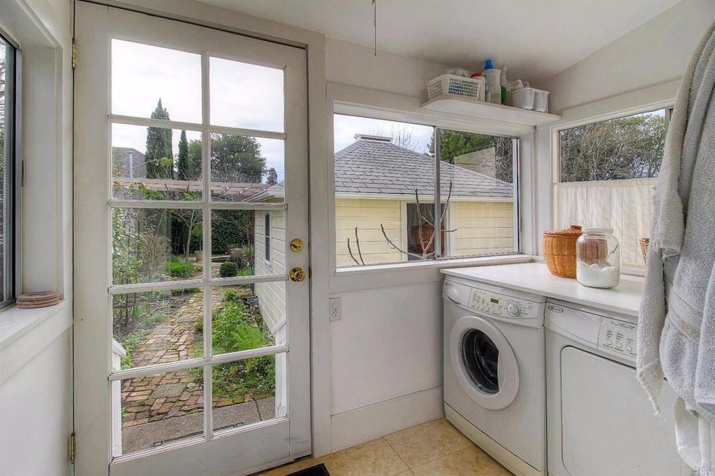 Cottage laundry room with limestone tile floors high - App that puts santa in your living room ...