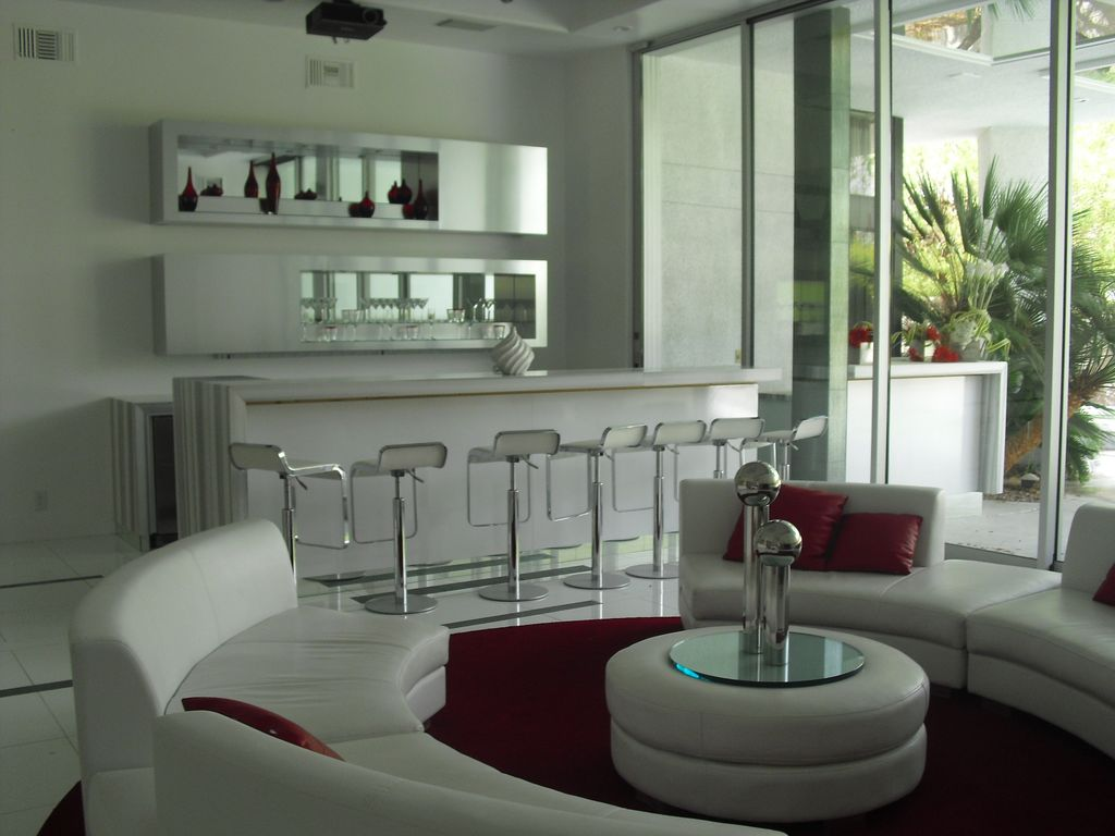 Contemporary Bar With Sandstone Tile Floors, Lem Piston Stool With Leather  Seat