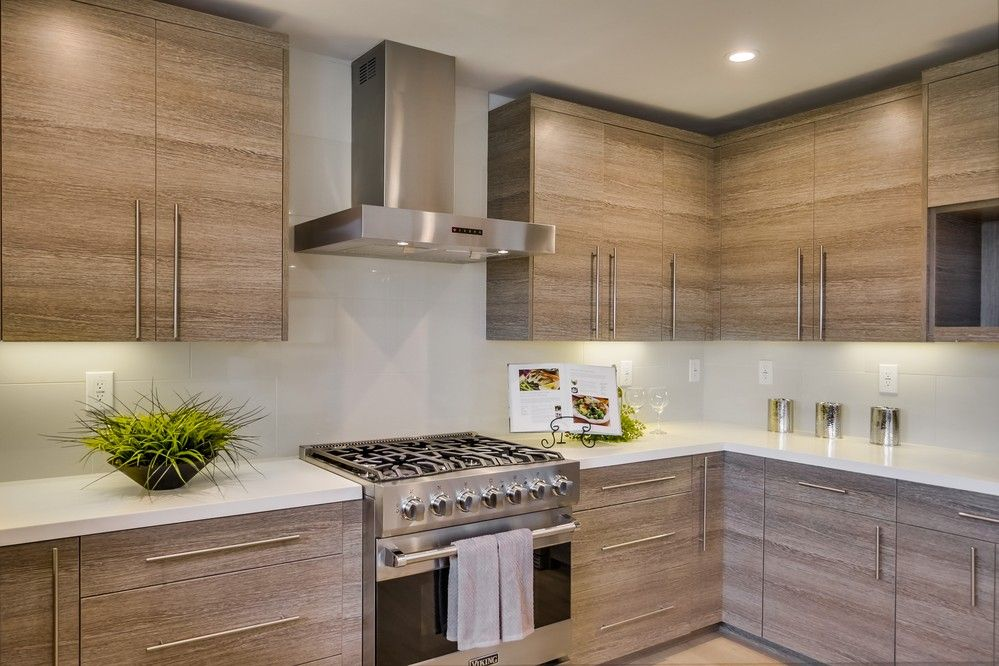 Contemporary Kitchen with Stone Tile & Custom hood in La Jolla, CA ...
