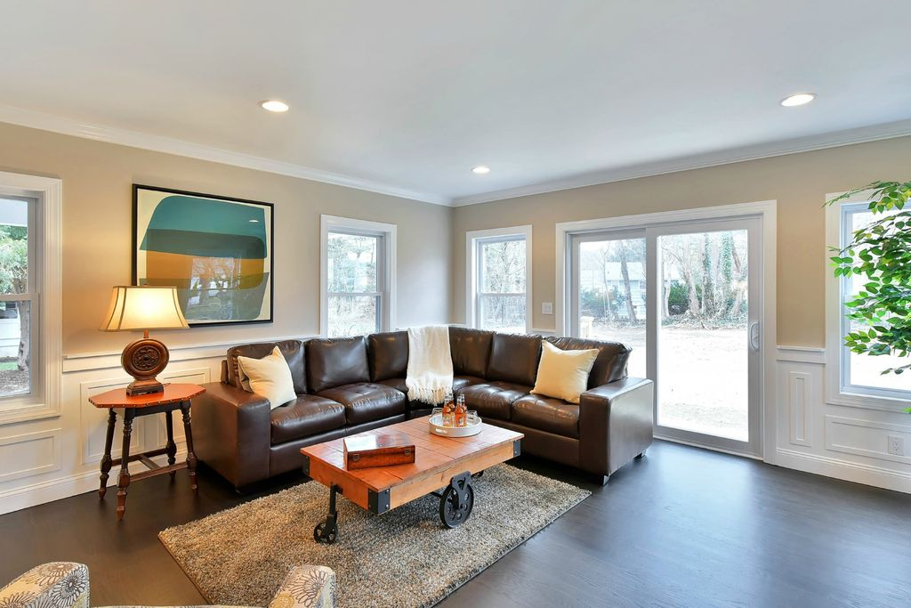 Traditional Living Room with Wainscoting & Carpet in Ridgewood, NJ ...