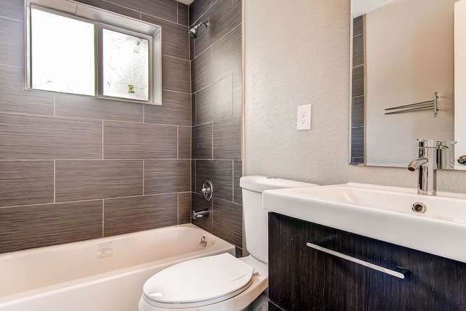 Contemporary Full Bathroom with Flush & European Cabinets in ...