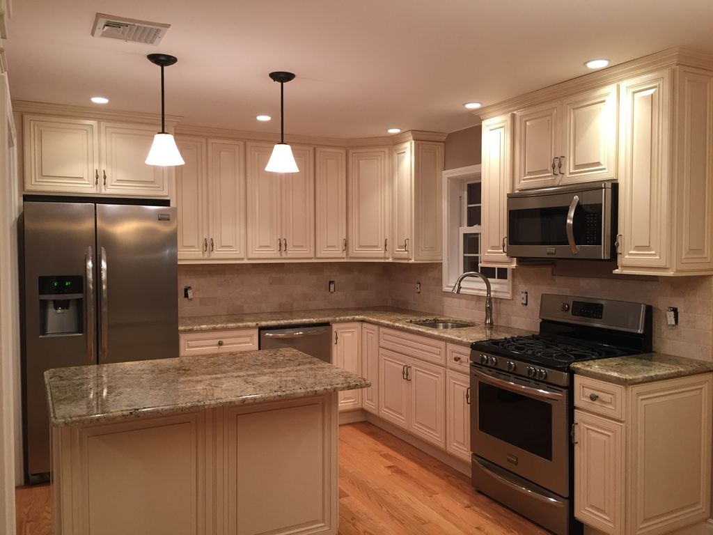 Traditional Kitchen With Inset Cabinets, Stone Tile, African Rainbow  Granite Countertop, Pendant Light