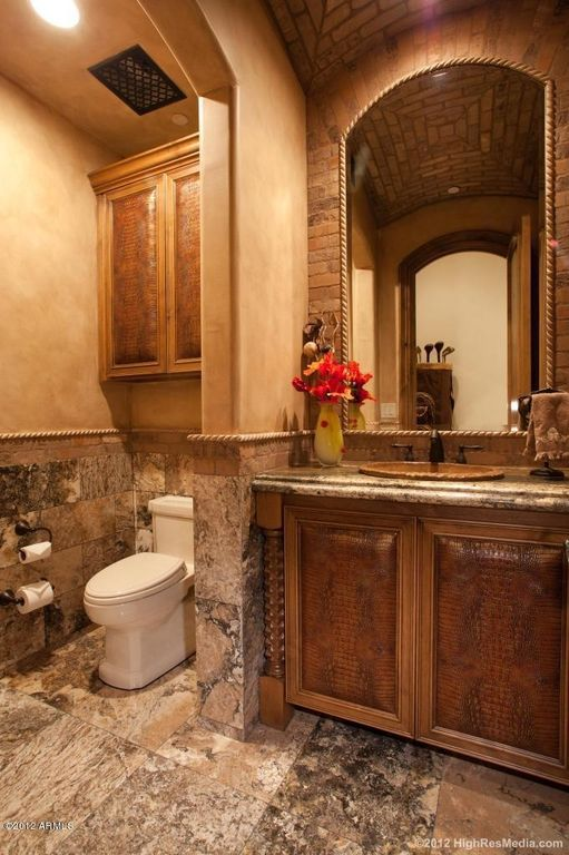 Powder room with raised panel high ceiling zillow digs zillow - Guide massive bathroom lighting optimum illumination ...