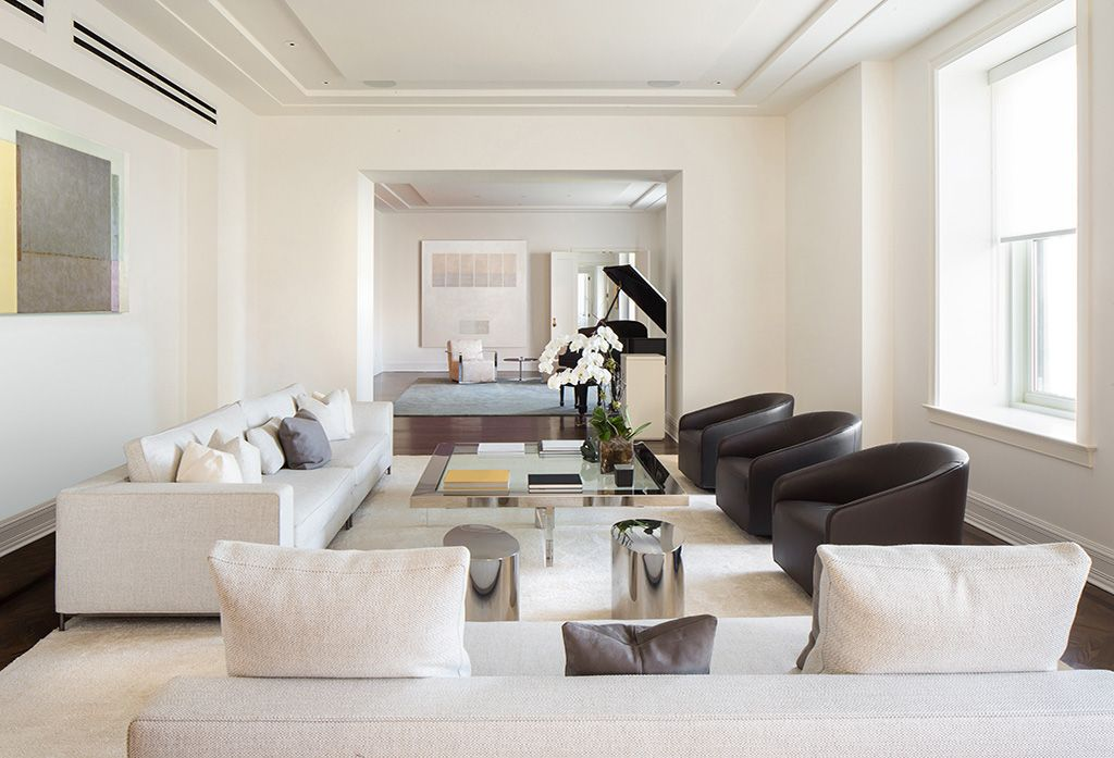 Contemporary Living Room With West Elm Watercolor Solid Rug Hardwood Floors