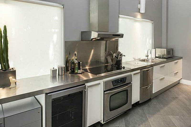 Modern Kitchen With MS International Metropolis Grey Porcelain Tile,  DishDrawer Double Dishwasher, Adriatic Cabinetry