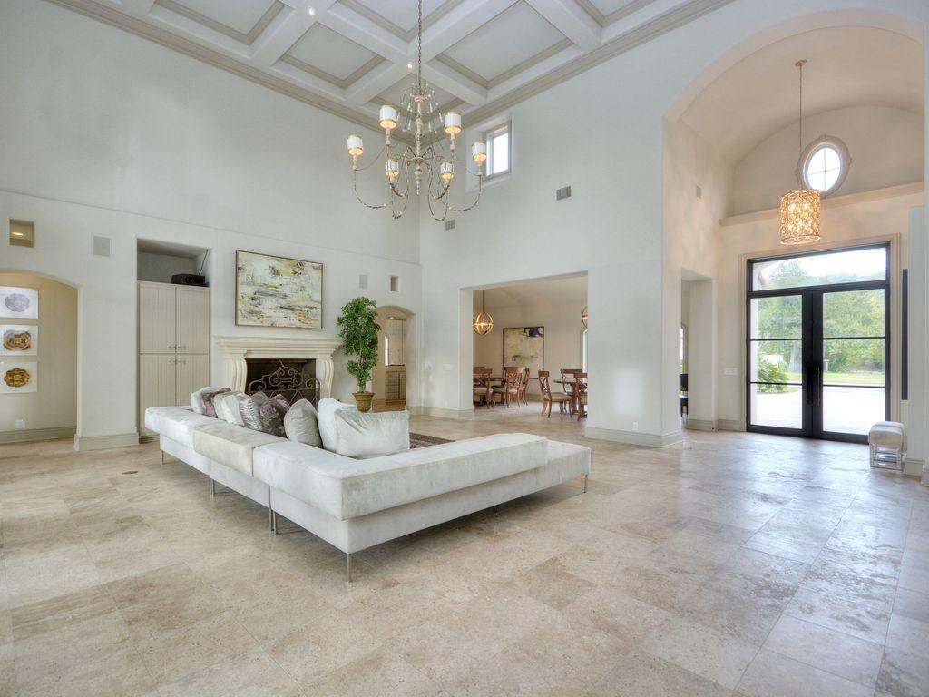 Living Room with Chandelier & Built-in bookshelf in AUSTIN, TX ...