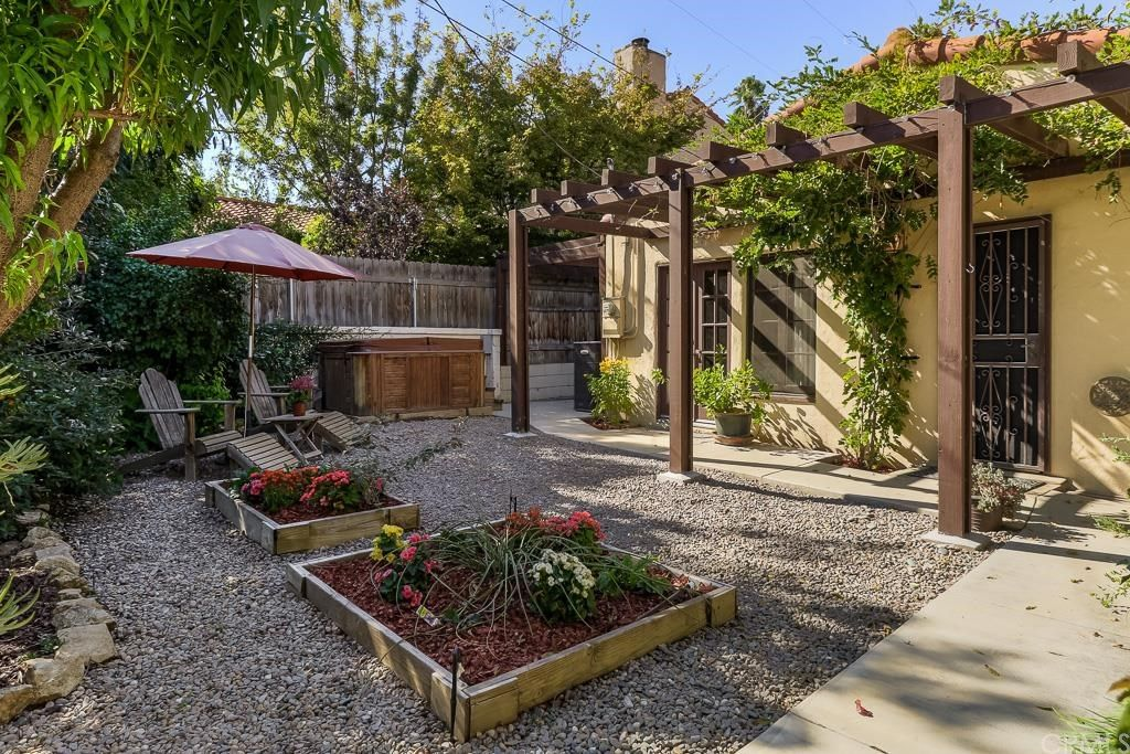 Charming 1 Tag Cottage Patio With Pathway, Raised Beds, Fence, Exterior Stone  Floors, Trellis