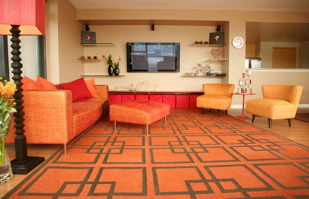 3 Tags Modern Living Room With Carpet High Ceiling West Elm Overlapping Squares Rug In Cinnabar