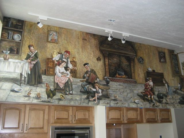 Great Mediterranean Kitchen With Wall Mural, Custom Kitchen Mural Inspired By  Eugenio Zampighi, Painted By Images