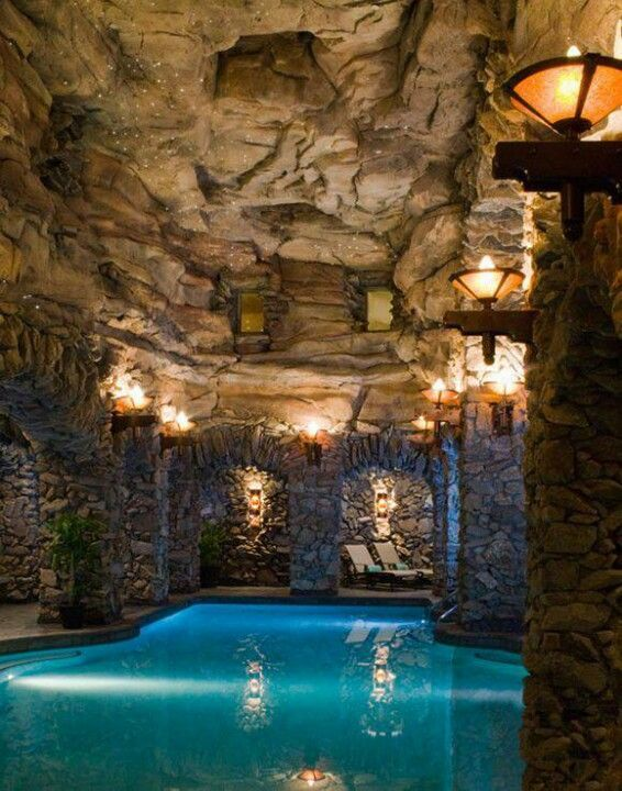 Rustic Swimming Pool With Exterior Stone Floors Indoor
